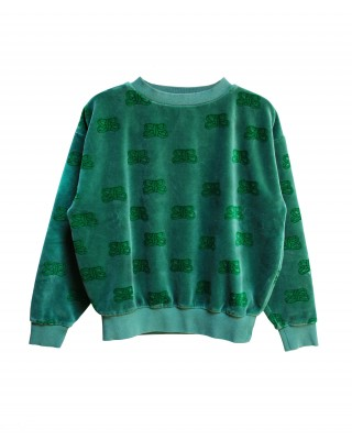 Sweat en velour vert CIL GREEN
